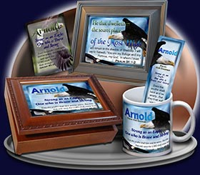 PC-AN20, Name Meaning Card, Wallet Sized, with Bible Verse Arnold bald eagle fly