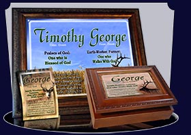 PC-AN35, Name Meaning Card, Wallet Sized, with Bible Verse elk hunt, hunter, deer buck george