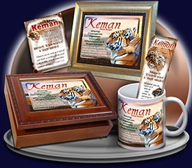 PC-AN40, Name Meaning Card, Wallet Sized, with Bible Verse tiger keman tigress powerful