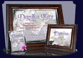PC-FL12, Name Meaning Card, Wallet Sized, with Bible Verse, personalized, flower, danisa easter lily cross