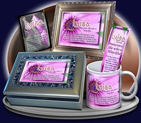 PC-FL34, Name Meaning Card, Wallet Sized, with Bible Verse, personalized, floral flower,  luisa purple pink flower