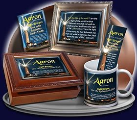 PC-LH16, Name Meaning Card, Wallet Sized, with Bible Verse, personalized, lighthouse light shine Aaron