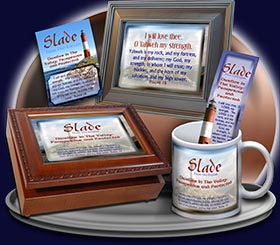 PC-LH36, Name Meaning Card, Wallet Sized, with Bible Verse, personalized, lighthouse light slade