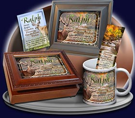 PC-SC46, Name Meaning Card, Wallet Sized, with Bible Verse, personalized, buck deer elk hunt hunter ralph