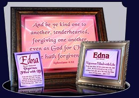 PC-SM06, Name Meaning Card, Wallet Sized, with Bible Verse, personalized, baby name purple pink edna simple basic