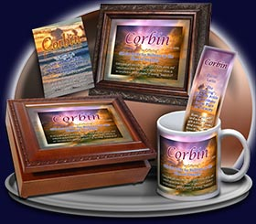 PC-SS02, Name Meaning Card, Wallet Sized, with Bible Verse, personalized, sunset purple, corbin