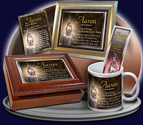 PC-SY25, Name Meaning Card, Wallet Sized, with Bible Verse, personalized, aaron light water candle