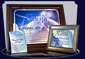 PC-SY33, memorial Name Meaning Card, Wallet Sized, with Bible Verse, personalized, raija, wings angel, angelic, heaven messenger