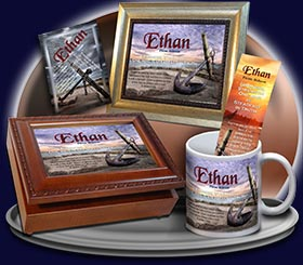 PC-SY60, Name Meaning Card, Wallet Sized, with Bible Verse, personalized, ethan anchor sunset