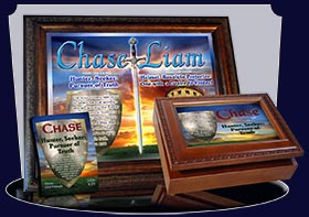 PC-SY61, Name Meaning Card, Wallet Sized, with Bible Verse, personalized, chase shield sunset