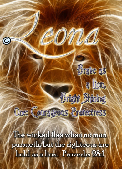 PC-AN08, Name Meaning Card, Wallet Sized, with Bible Verse, leona, lion, africa.