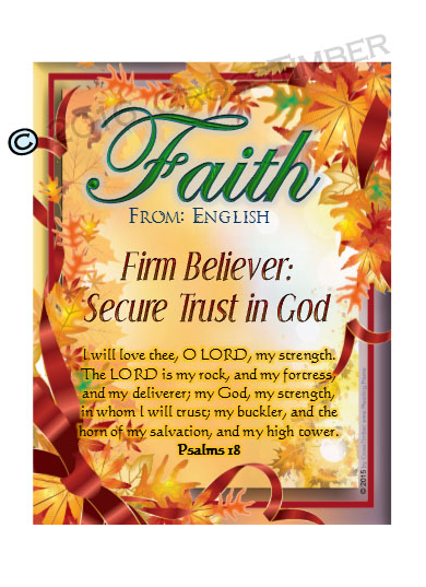 PC-LE10, Name Meaning Card, Wallet Sized, with Bible Verse, personalized, tree leaves leaf autumn fall faith