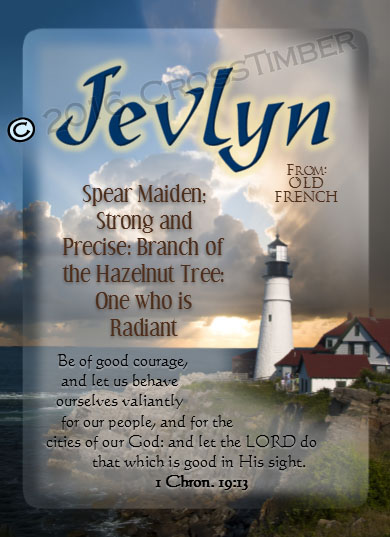 PC-LH37, Name Meaning Card, Wallet Sized, with Bible Verse, personalized, lighthouse light jevlyn