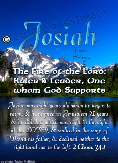 PC-SC07, Name Meaning Card, Wallet Sized, with Bible Verse, personalized, josiah mountains lake scenery