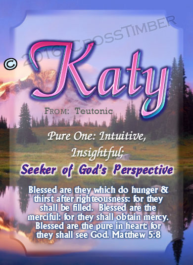 PC-SC28, Name Meaning Card, Wallet Sized, with Bible Verse, personalized, katy mountain lake pink, scenery