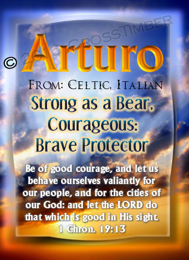 PC-SS07, Name Meaning Card, Wallet Sized, with Bible Verse, personalized, arturo sunset sky