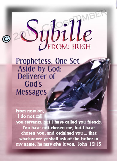 PC-SY04, Name Meaning Card, Wallet Sized, with Bible Verse, personalized, pink jewelry diamonds rubies treasure sybille