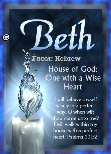 PC-SY24, Name Meaning Card, Wallet Sized, with Bible Verse, personalized, beth candle light water