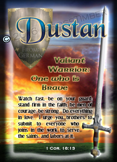 PC-SY63, Name Meaning Card, Wallet Sized, with Bible Verse, personalized,dustan shield sword castle knight courage