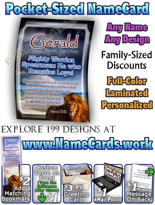 PC-AN07, Name Meaning Card, Wallet Sized, with Bible Verse gerald lion, bravery courage