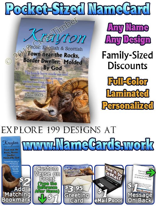 PC-AN10, Name Meaning Card, Wallet Sized, with Bible Verse Aria canyon, rocks diligence