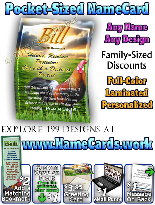 PC-AN19, Name Meaning Card with a Rooster, Wallet Sized card with Bible Verse