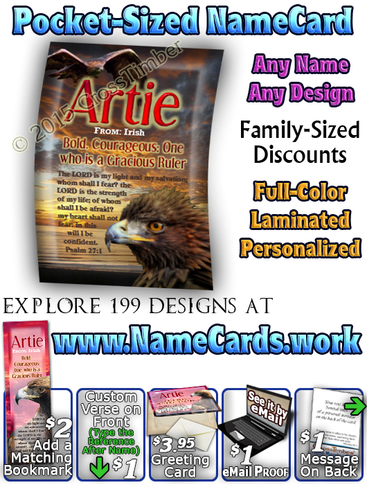 PC-AN24, Name Meaning Card, Wallet Sized, with Bible Verse bird golden eagle hawk Artie
