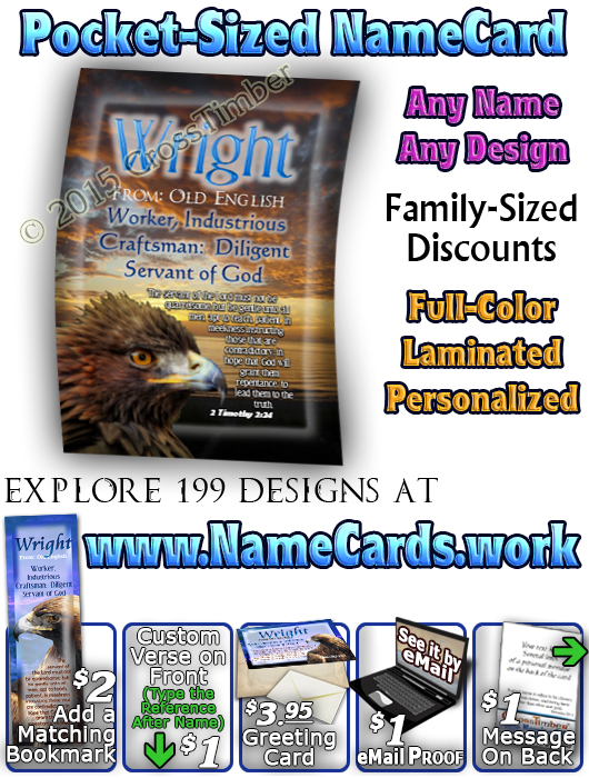 PC-AN32, Name Meaning Card, Wallet Sized, with Bible Verse wright golden eagle preditor hawk bird