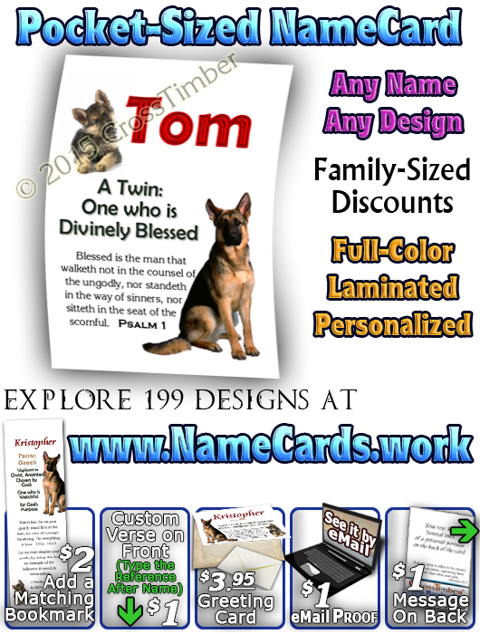 PC-AN39, Name Meaning Card, Wallet Sized, with Bible Verse Kristopher Christopher Chris Kris german shepherd dog