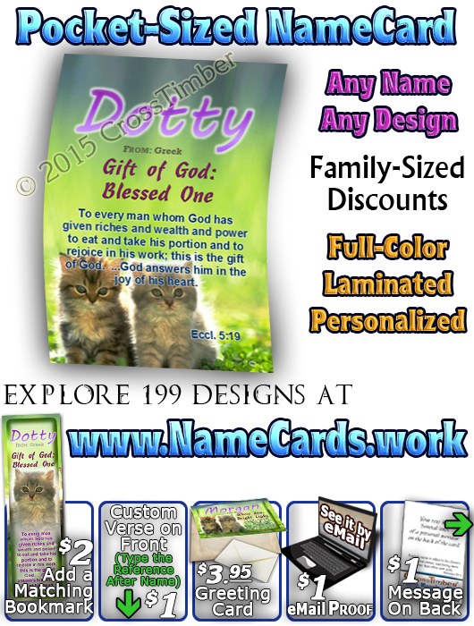 PC-AN50, Name Meaning Card, Wallet Sized, with Bible Verse morgan cute fuzzy kittens cats