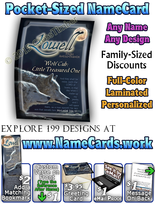 PC-AN54, Name Meaning Card, Wallet Sized, with Bible Verse lowell wolf cub wolves moon night dark