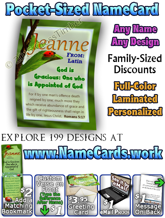 PC-AN61, Name Meaning Card, Wallet Sized, with Bible Verse ladybug bug jeanne garden