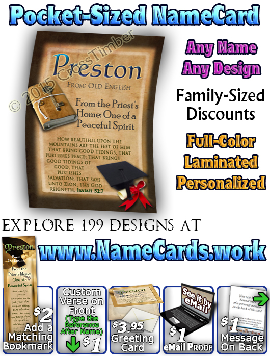 PC-EV02, Name Meaning Card, Wallet Sized, with Bible Verse, personalized, graduation hat preston