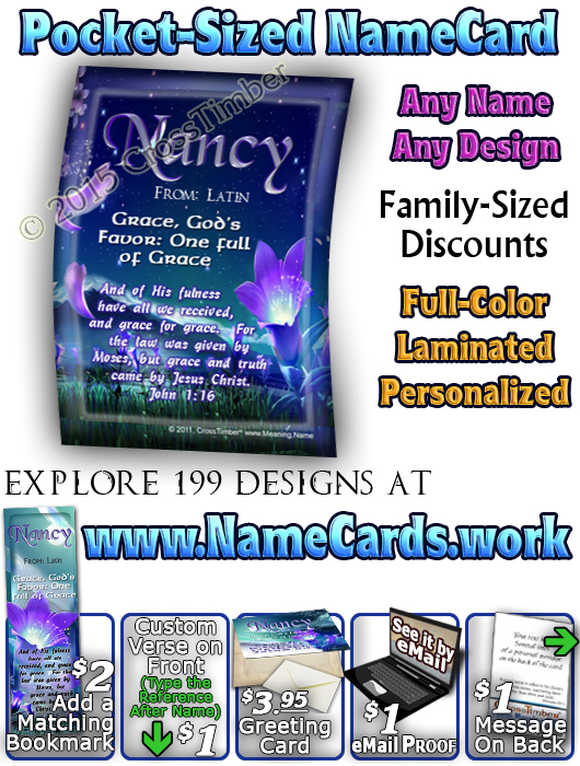 PC-FL29, Name Meaning Card, Wallet Sized, with Bible Verse, personalized, floral flower, fairy fantasy purple flower moon