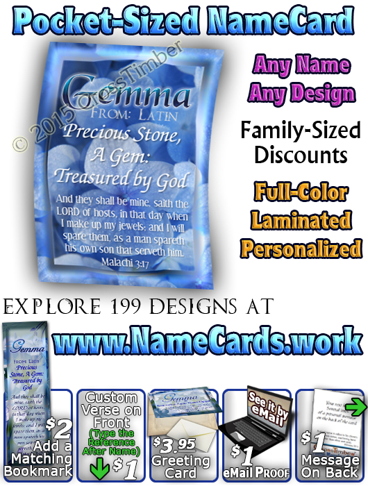 PC-FL33, Name Meaning Card, Wallet Sized, with Bible Verse, personalized, floral flower, blue soft flowers Gemma