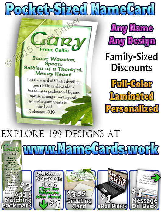 PC-LE02, Name Meaning Card, Wallet Sized, with Bible Verse, personalized, gary leaf tree leaves green