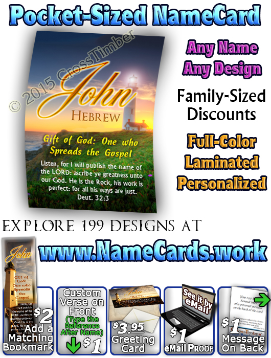 PC-LH33, Name Meaning Card, Wallet Sized, with Bible Verse, personalized, lighthouse light john