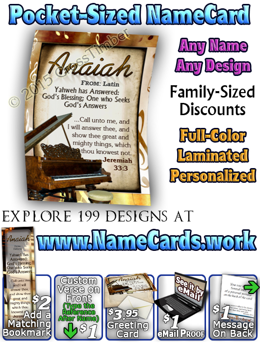 PC-MU01, Name Meaning Card, Wallet Sized, with Bible Verse, personalized, piano music notes anaiah