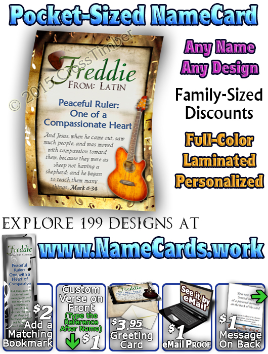PC-MU15, Name Meaning Card, Wallet Sized, with Bible Verse, personalized, music notes freddie fred frederick guitar acoustic