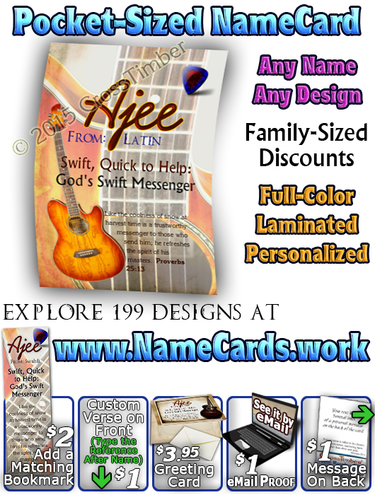 PC-MU19, Name Meaning Card, Wallet Sized, with Bible Verse, personalized, music notes ajee guitar acoustic