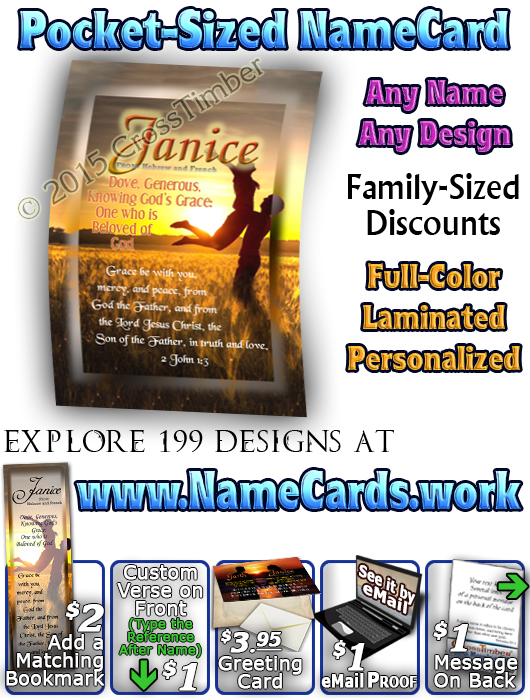 PC-PP17, Name Meaning Card, Wallet Sized, with Bible Verse, personalized, couple sweetheart love anniversary, garth, janice