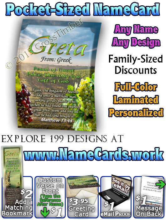 PC-SC14, Name Meaning Card, Wallet Sized, with Bible Verse, personalized, Greta rolling hills peace Italy