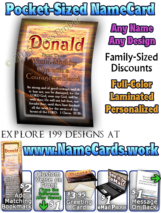 PC-SC33, Name Meaning Card, Wallet Sized, with Bible Verse, personalized, donald clouds sunset