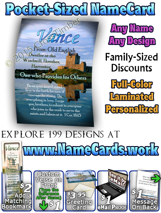 PC-SC34, Name Meaning Card, Wallet Sized, with Bible Verse, personalized, vance castle lake moat