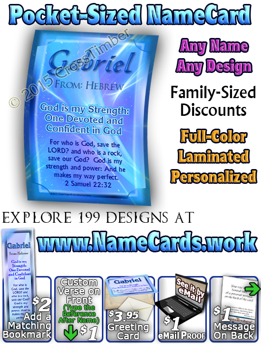 PC-SM05, Name Meaning Card, Wallet Sized, with Bible Verse, personalized, simple baby name baby blue gabriel simple basic