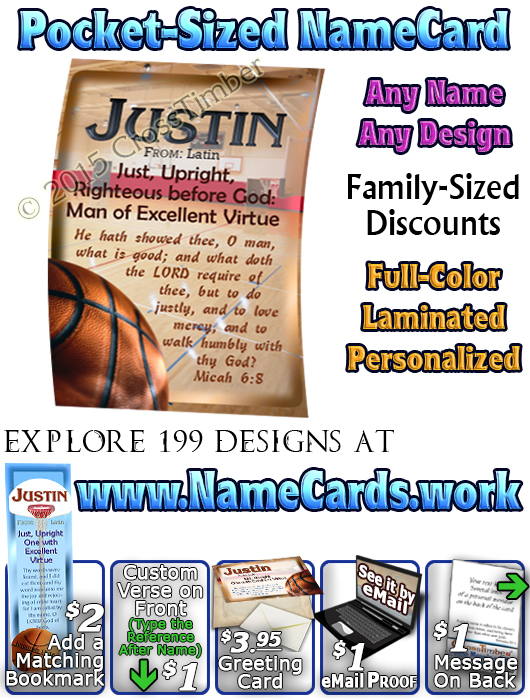 PC-SP04, Name Meaning Card, Wallet Sized, with   Bible Verse