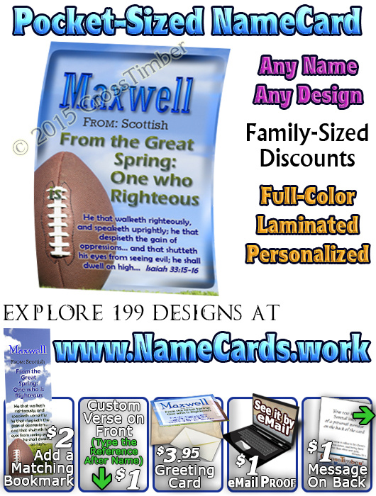 PC-SP11, Name Meaning Card, Wallet Sized, with   Bible Verse