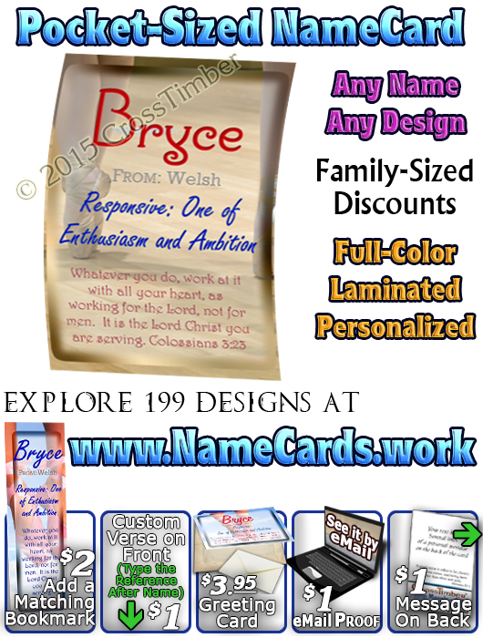 PC-SP19, Name Meaning Card, Wallet Sized, with   Bible Verse