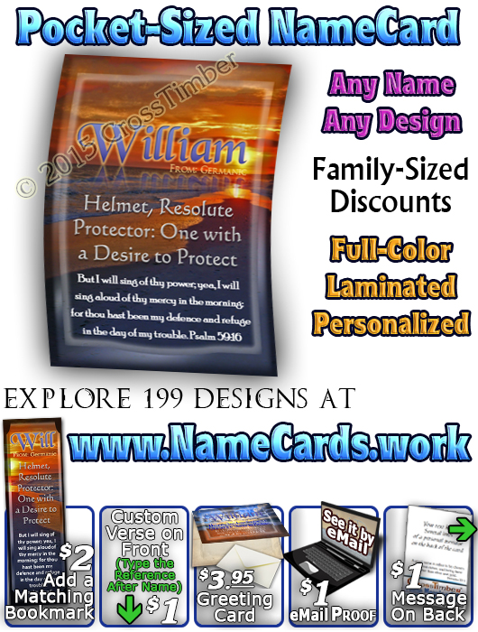 PC-SS24, Name Meaning Card, Wallet Sized, with Bible Verse, personalized, william, sunset beach ocean sand