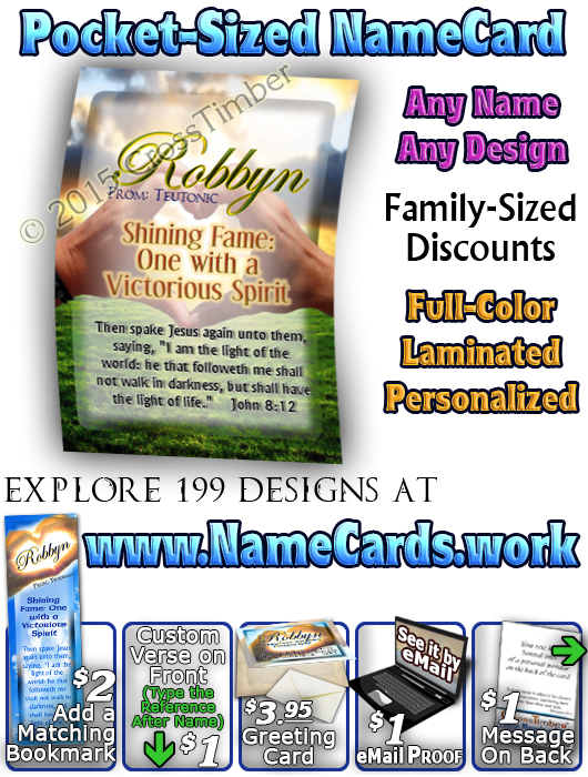 PC-SY31, Name Meaning Card, Wallet Sized, with Bible Verse, personalized, heart hands light robbyn
